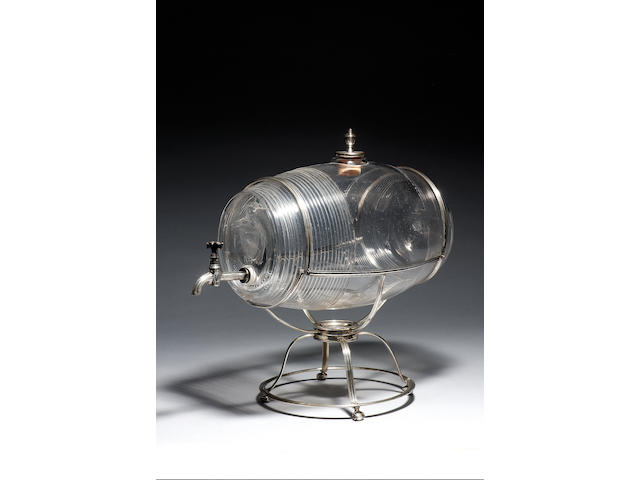 An important silver-mounted glass table wine fountain circa 1795