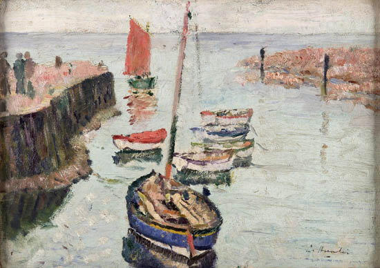 George Leslie Hunter (1877-1931) The Red Sail, Largo harbour 25cm x 35cm (10in. x 13.75in.)