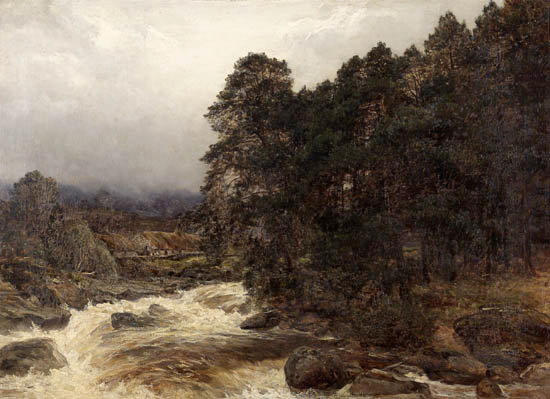James Docharty ARSA (1829-1878) A spate on the Dochart, Killin 64.5x89cm