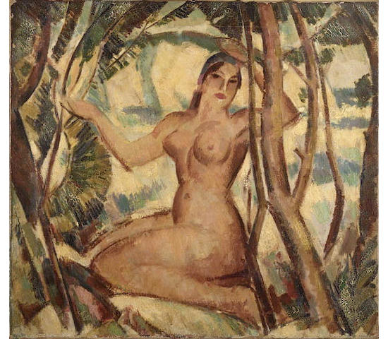"John Duncan Fergusson R.B.A. (1874-1961) ""Nude and Cliff"" 56cm x 61cm (22x24"")"