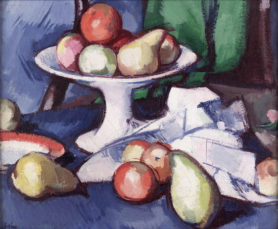 Samuel John Peploe R.S.A. (1871-1935) Still life of fruit, comport and pink rose 37.5cm x 45cm (15in