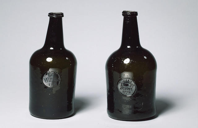CYLINDRICAL BOTTLE WITH SEAL OF 'INO. WILLIAMS 1774'. 4 INCH VERTICAL CRACK. INO = JONATHAN