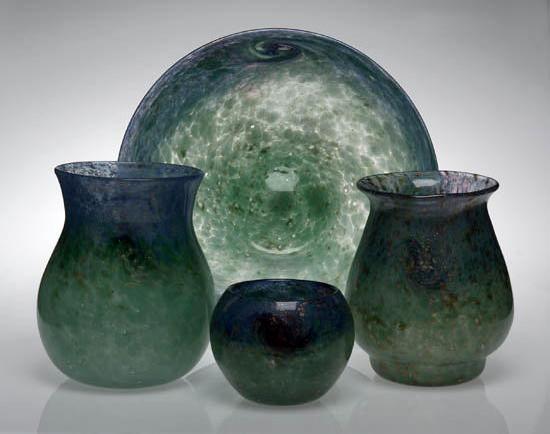 An early Monart Bowl, shape AI, 31cm diameter, bearing original paper label, IV, AI, 364,