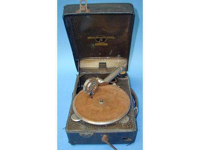 A Columbia model No. 100 portable gramophone,