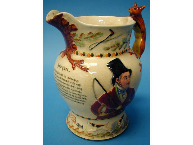 A figural salt glazed jug,