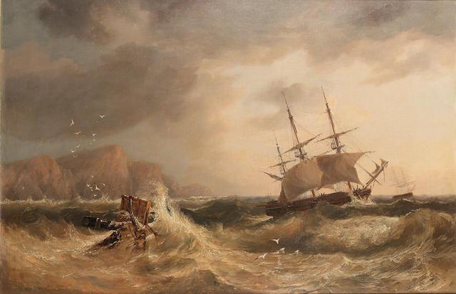 John Wilson Carmichael (British, 1799-1868) Shipping off a coastline 61 x 91.4cm. (24 x 36in.)