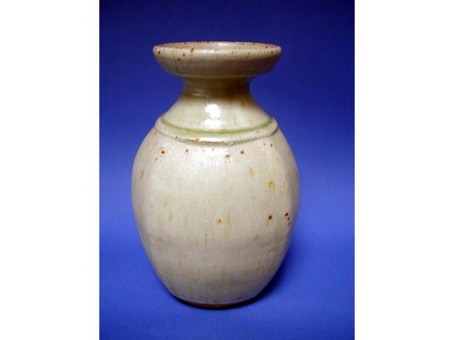 A Richard Batterham stoneware squared vase, ash glazed, 21cm high.