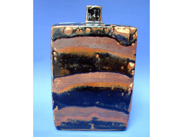 William Marshall A stoneware slab bottle, tenmoku glaze, impressed potters seal, 29cm high.