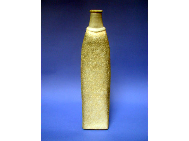 A stoneware bottle by Sue Mundy, of tapered form with flattened sides, 36cm high.