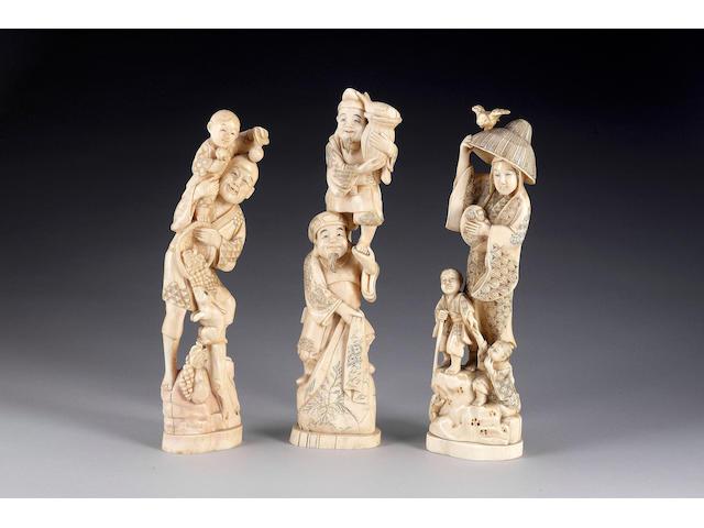 Seven various ivories,
