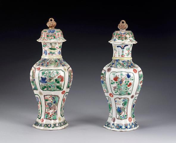 A pair of famille verte quatrefoil vases,