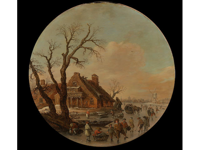 Jan Josefsz. Van Goyen A winter landscape with skaters on a frozen river, a farmhouse with a dovecot