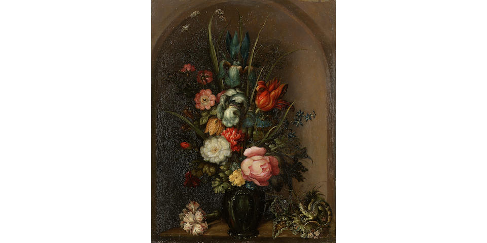 Roelandt Savery (Courtrai 1576-1639 Utrecht) Irises, roses, a tulip, a fritillary, forget-me-nots, yarrow and other flowers in a glass vase 32 x 24.5 cm. (12 5/8 x 9 5/8 in.)