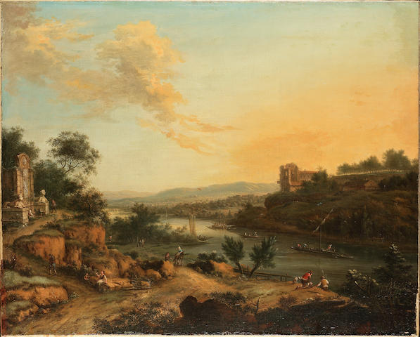 Johann Christian Vollerdt Rhenish river landscape with travellers on a track, with anglers on a bank