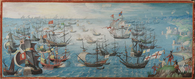 Dutch School, circa 1604-09 The conflict between the English Fleet and the Spanish Armada during the launching of English fireships on the Spanish fleet off Calais, with troops holding an English standard in the foreground and Queen Elizabeth I on horseback attended by a nobleman, possibly the Earl of Leicester, beyond, 14 x 35 cm.(5½ x 13¾ in.)
