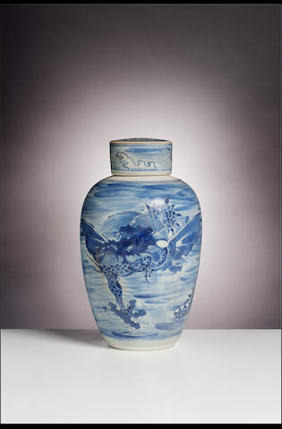 A Transitional blue and white jar and cover from the Hatcher Junk Circa 1640