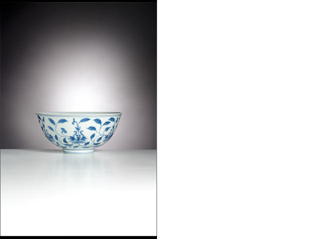 A blue and white 'lotus' bowl Chenghua six-character mark, Kangxi period