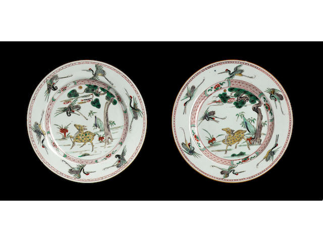A set of four famille verte plates,