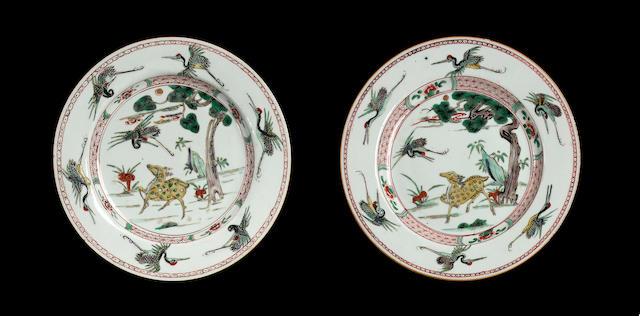 A set of four famille verte plates,