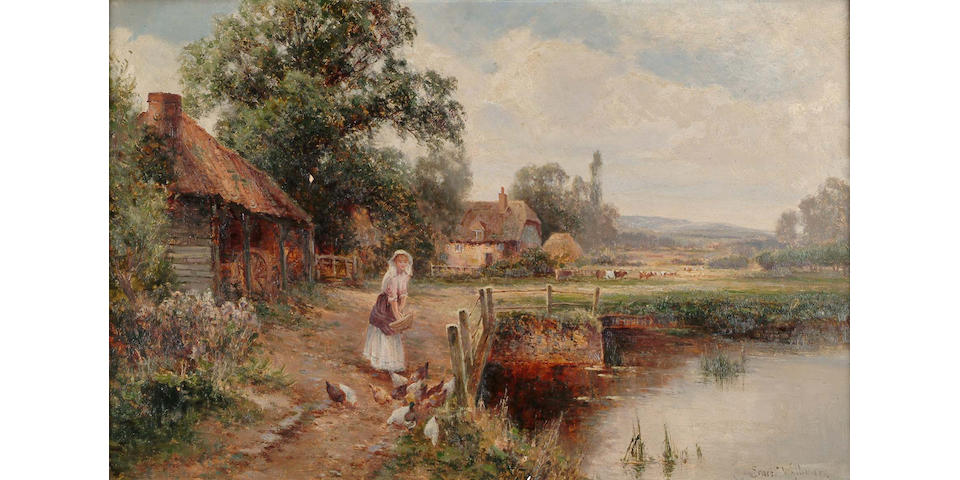 Ernest Walbourn (British, 1872-1927) Extensive river landscape with girl feeding birds by a river in the foreground,signed, oil on canvas,