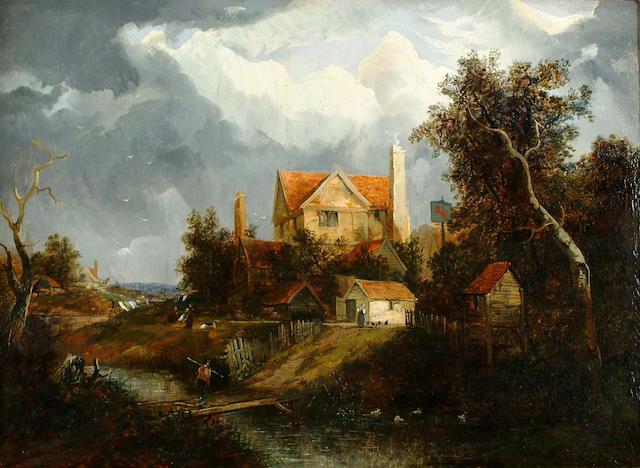 Joseph Paul (British, 1804-1887) A tavern by a stream 48.5 x 66cm