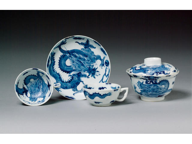 A set of six Bow teacups and saucers and a rice bowl and cover circa 1760
