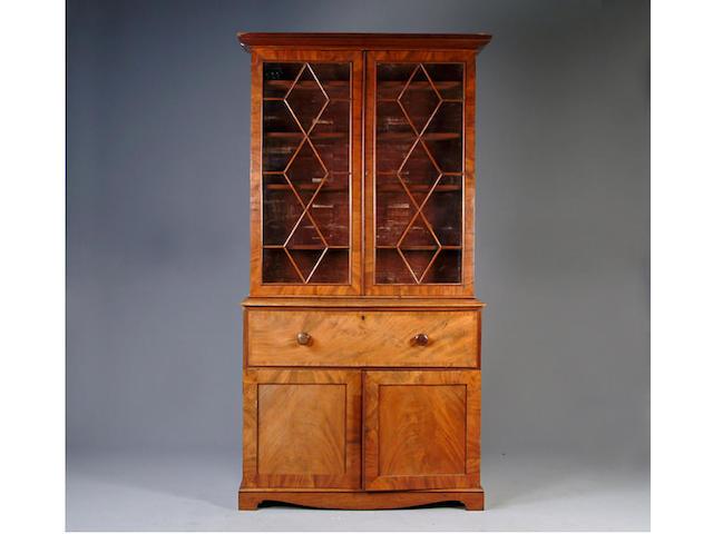 A William IV mahogany secretaire bookcase