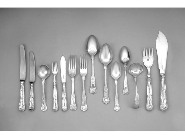 A silver King's pattern table service of flatware, unless otherwise stated Sheffield 1971 / 1972,,