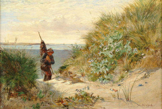 John Mogford (British, 1821-1885) Young fisherboy coming through the dunes,  23 x 33.5cm