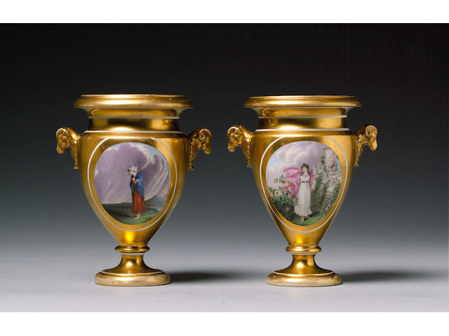 An important pair of documentary Swansea vases circa 1815-17