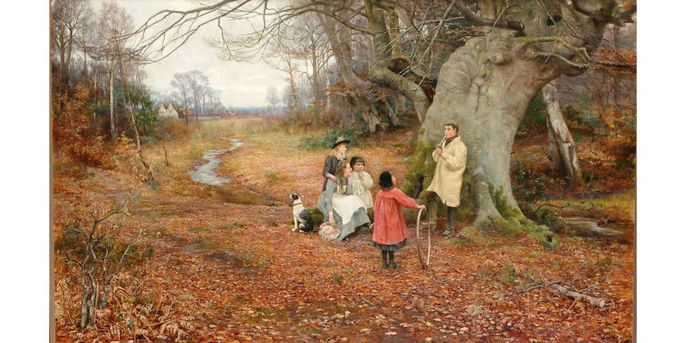 Florence Fitzgerald Extensive autumnal woodland scene, with children in the foreground, 75 x 126.3cm