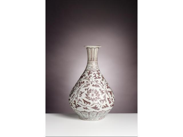 A Ming underglaze-copper-red pear-shaped vase, yuhuchun Hongwu