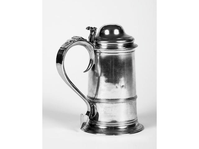 A George III silver tankard with domed cover London 1793