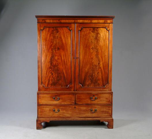 A George III mahogany linen press,