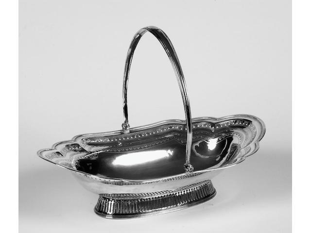 A George III silver oval basket