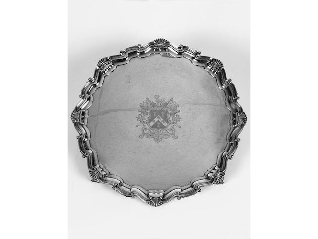 A large crested silver tray/salver