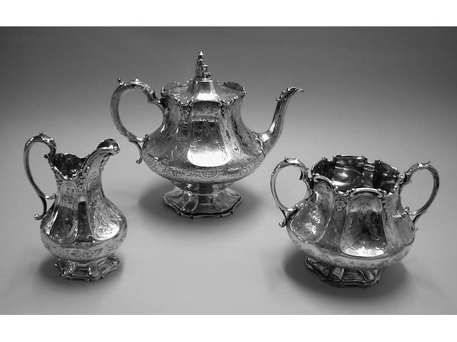 A Victorian provincial three piece tea set, James & Joshia Williams, Exeter 1854,