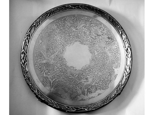 A Victorian Aesthetic movement salver, Messrs Barnard, 1879,