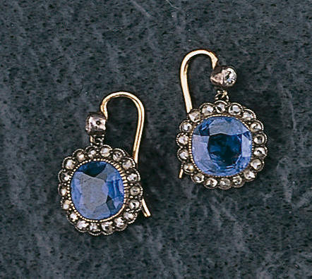 A pair of sapphire and diamond earpendants,