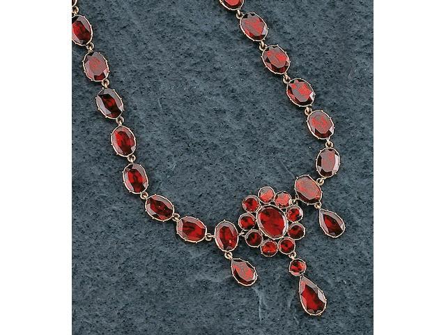 A 19th century gold garnet necklace,