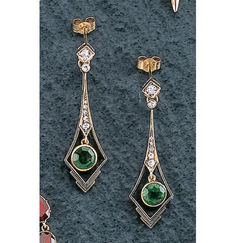 A pair of Art Deco diamond and emerald earpendants,