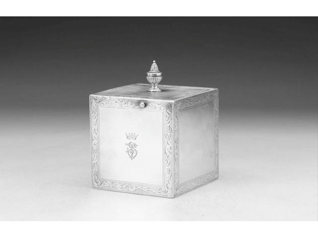 A George III cube-shaped silver caddy, by Augustin le Sage, London 1772,