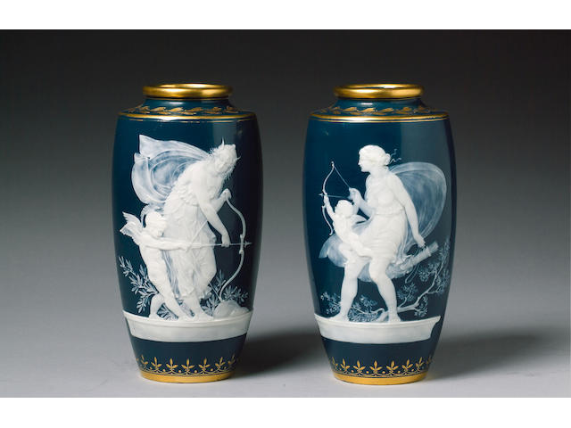 A Pair of Minton pate-sur-pate vases by Alboin Birks circa 1910