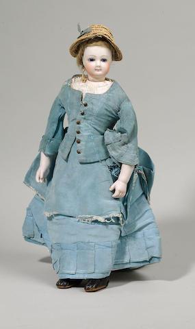 A bisque shoulder head fashion doll, possibly Jumeau circa 1880