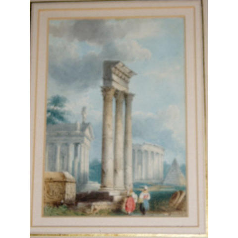 "Andrew Mercer (French 1775-1842) ""Jupiter Temple""Inscribed on reverse, watercolour,"
