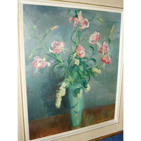 Howard Bowen (20th Century) A still life with tigerlillies in a green vaseSigned, oil on canvas,