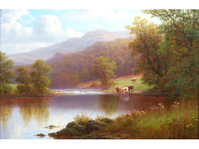 William Mellor (1851-1931) Highland river landscapes with cows and sheepSigned, oils on canvas,