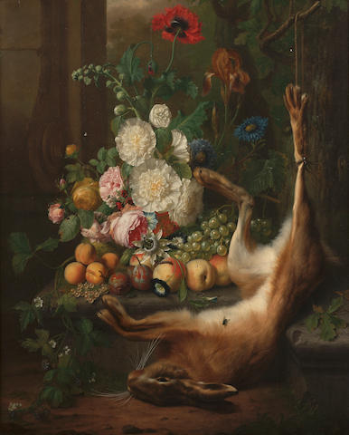 Joris Ponse, Flowers with fruit on a stone ledge with a dead hare amidst ruins in a landscape, 93.5 x 77 cm. (36¾ x 30¼ in.)