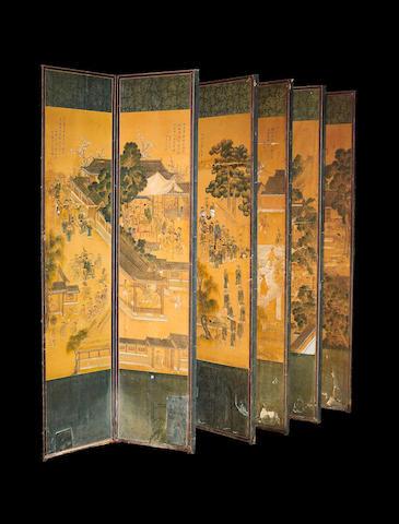 A Korean ten-leaf screen,