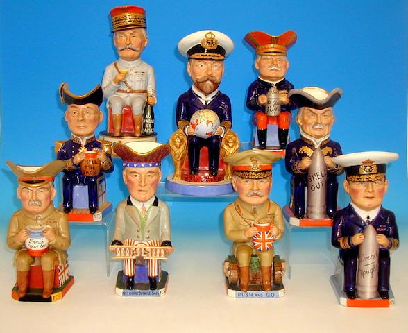 A set of nine Wilkinson Ltd. First World War toby jugs,